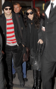 Ashton Kutcher and Demi Moore arrived at the Tegel Airport on a flight from Frankfort Germany