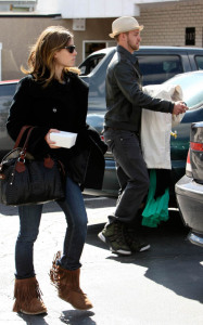 Justin Timberlake and Jessica Biel pick arrive at the dry cleaners after in Los Angeles California on February 9th 2009 1