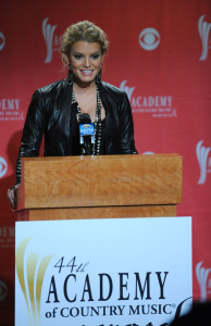 Jessica Simpson announces the nominees live for the 44th Academy of Country Music Awards