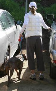 Jessica Biel spotted walking her dog