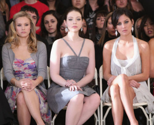Kristen Bell with Michelle Trachtenberg and Jessica Stroup at the Jill Stuart Fall 2009 fashion show