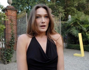 Carla Bruni Sarkozy at the Piedmontese castle in Italy founded in the 11th century