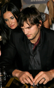 Ashton Kutcher and Demi Moore attend the Bally and Vanity Fair Hollywood Domino Game Night at Andaz on February 20th 2009