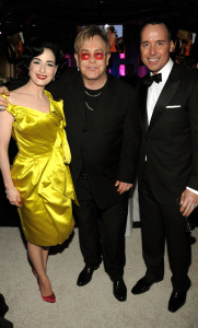 Dita Von Teese with Elton John and David Furnish at the 17th Annual Elton John AIDS Foundation Oscar party held at the Pacific Design Center on February 22nd 2009 in West Hollywood California   Copy