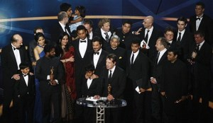 Freida Pinto and Dev Patel with Director Danny Boyle together with all the Slumdog Millionaire team on stage of the 81st Annual Academy Awards held at The Kodak Theatre on February 22nd 2009 in Hollywood California