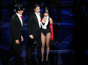 Hugh Jackman with Zac Efron and Vanessa Hudgens on stage during the 81st Annual Academy Awards held at Kodak Theatre on February 22nd 2009 in Los Angeles California