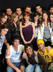 Twenty students of the star academy season6 with Rola Saad