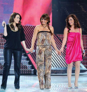Aya with Tania Nemer and Shatha Hassoun at Star Academy Fourth Prime