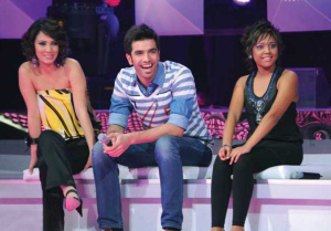 Inass with Noura and Mohammed Serag at the Star Academy Fourth Prime