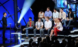 Ryan Seacrest and the Top 10 contestants of American Idol waiting for the results
