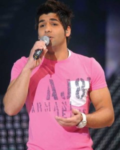 Ibrahim Dashti from Kuwait picture singing live at the Sixth Prime of LBC Star Academy season six on March 27th 2009