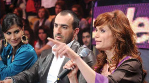 Madam Rola Saad with Wadi' Abi Raed and Alissar Caracalla at the Sixth Prime of LBC Star Academy season six on March 27th 2009