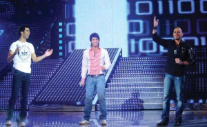 The three nominees, Yahia from Jordan, Mohamed Serag from Egypt, and Nazem from Lebanon singing at the Sixth Prime of LBC Star Academy season six on March 27th 2009