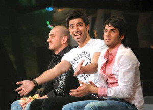 The three nominees, Yahia from Jordan, Mohamed Serag from Egypt, and Nazem from Lebanon at the Sixth Prime of LBC Star Academy season six on March 27th 2009