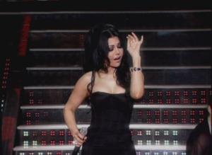 seventh prime of lbc star academy 2009 season 6 on April 3rd 2009 Haifa sings live wearing a strapless black dress