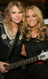Taylor Swift with Carrie Underwood at the 44th annual country music awards on April 5th 2009