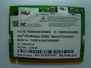 Intel pro wireless 2200BG front side sticker