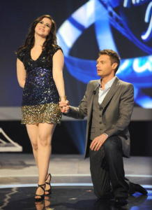 Tatiana Del Toro with Ryan Seacrest are seen onstage during live wild card show of American Idol March 5th 2009 in Los Angeles California