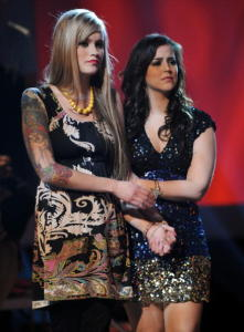 Tatiana Del Toro and Megan Joy Corkrey on stage of the american idol season 8 during the wild card show of American Idol March 5th 2009 in Los Angeles California