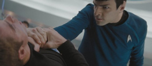 Zachary Quinto as Captain Spock and Chris Pine as captain James T. Kirk in the new 2009 movie Star Trek XI