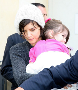 Katie Holmes and baby Suri Cruise spotted at The Grove in Los Angeles on April 1st 2009 3