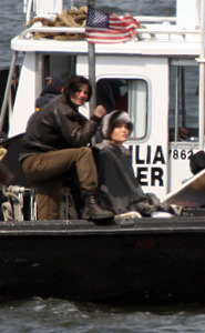 Angelina Jolie spotted filming her new movie Salt on a boat near Staten Island in the New York Harbor on April 8th 2009 5