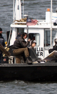 Angelina Jolie spotted filming her new movie Salt on a boat near Staten Island in the New York Harbor on April 8th 2009 7