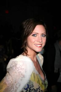 Brittany Snow at the Mercedes Benz Fashion Week Fall 2009 show by Erin Fetherston on February 15th 2009 3