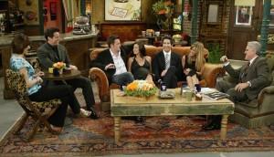 Cast of Friends Lisa Kudrow, Matt LeBlanc, Matthew Perry, David Schwimmer, Courteney Cox and Jennifer Aniston at the Jay Leno Show on May 6th 2004