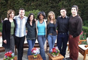 The cast of Friends Lisa Kudrow, Matt LeBlanc, Matthew Perry, David Schwimmer, Courteney Cox, and Jennifer Aniston on The Oprah Winfrey Show on April 19th 2004
