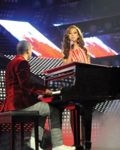 Basma and Michel Fadel at Star Academy Eighth Prime on April 10th 2009