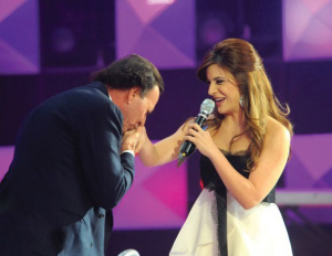 Julio Iglesias and Hilda Khalifeh on stage at Star Academy Eighth Prime on April 10th 2009