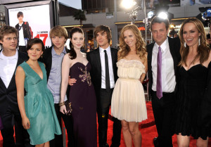 Allison Miller with Hunter Parrish, Sterling Knight, Michelle Trachtenberg, director Burr Steers, Zac Efron, Leslie Mann, Matthew Perry, and Melora Hardin arrive at the movie premiere of 17 Again on April 14, 2009
