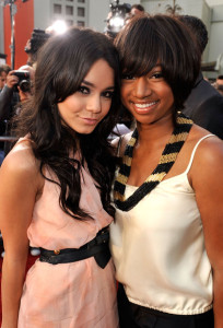 Vanessa Hudgens and Monique Coleman arrive at the movie premiere of 17 Again on April 14, 2009