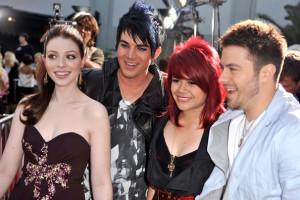 Michelle Trachtenberg with Adam Lambert, Allison Iraheta and Matt Giraud at the movie premiere of 17 Again on April 14, 2009