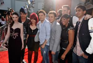 Michelle Trachtenberg with Adam Lambert, Allison Iraheta, Matt Giraud, Kris Allen, Danny Gokey, Lil Rounds, and Anoop Desai at the movie premiere of 17 Again on April 14, 2009