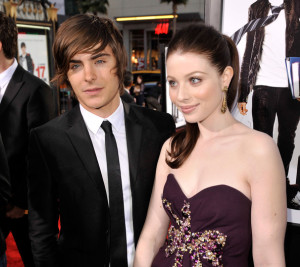 Zac Efron and Michelle Trachtenberg at the movie premiere of 17 Again on April 14, 2009
