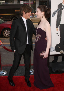 Michelle Trachtenberg and Zac Efron at the movie premiere of 17 Again on April 14, 2009