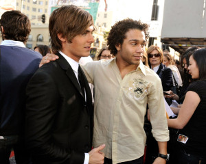 Zac Efron and Corbin Bleu at the movie premiere of 17 Again on April 14, 2009