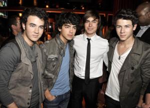 Zac Efron with the Jonas Borthers, Kevin Jonas, Joe Jonas, and Nick Jonas at the movie premiere of 17 Again on April 14, 2009