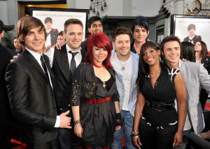 Zac Efron and American Idol Season Eight contestants Matt Giraud, Allison Iraheta, Anoop Desai, Danny Gokey, Adam Lambert, Lil Rounds, and Kris Allen at the movie premiere of 17 Again on April 14, 2009