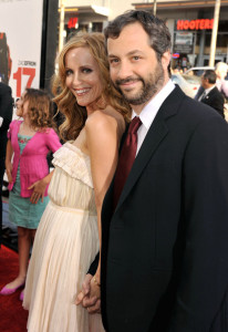 Leslie Mann and producer Judd Apatow arrive at the movie premiere of 17 Again on April 14, 2009