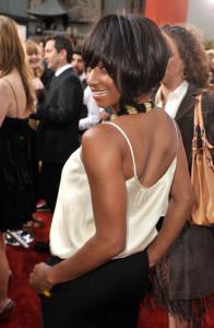 Monique Coleman arrives at the movie premiere of 17 Again on April 14, 2009