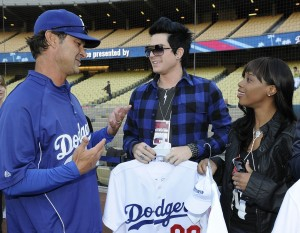 Adam Lambert with Lil Rounds during The Final Top 7 American Idol Contestants Attendendance to A Dodgers Game in April 2009