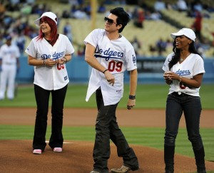 Adam Lambert with Allison Iraheta and Lil Rounds during The Final Top 7 American Idol Contestants Attendendance to A Dodgers Game in April 2009