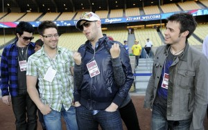 Adam Lambert with Kris Allen, Danny Gokey, and Matt Giraud during The Final Top 7 American Idol Contestants Attendendance to A Dodgers Game in April 2009