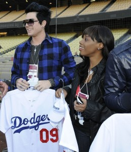 The Final Top 7 American Idol Contestants, Adam Lambert and Lil Rounds Attend A Dodgers Game in April 2009