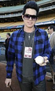 Adam Lambert Attends A Dodgers Game in April 2009