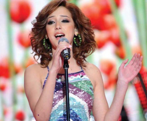 Basma singing on stage at the LBC Star Academy 10th prime on April 24th 2009