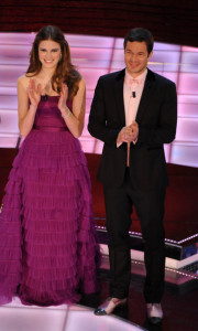 Alessia Piovan and Paul Sculfor hosting the 59th Sanremo Italian Music Festival of 2009